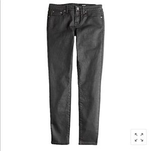 J. Crew Black Toothpick Coated Ankle Jeans